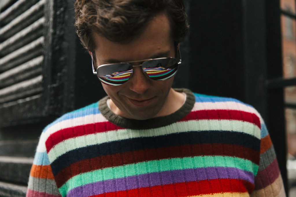 RainbowStripedSweaterLookingDown