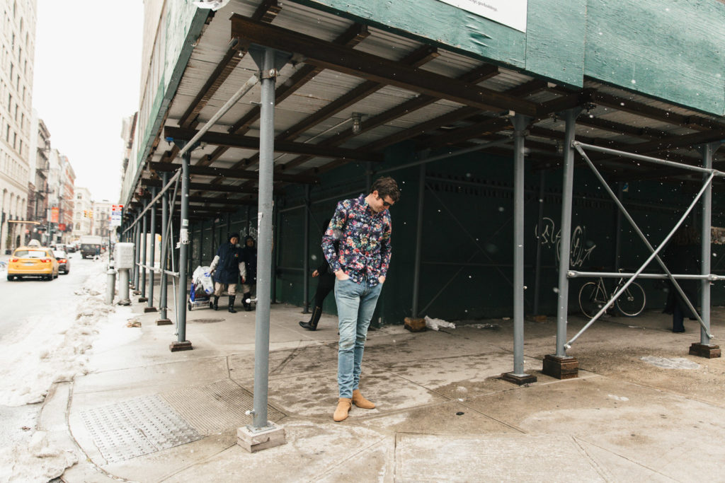 Floral Shirt Looking Down