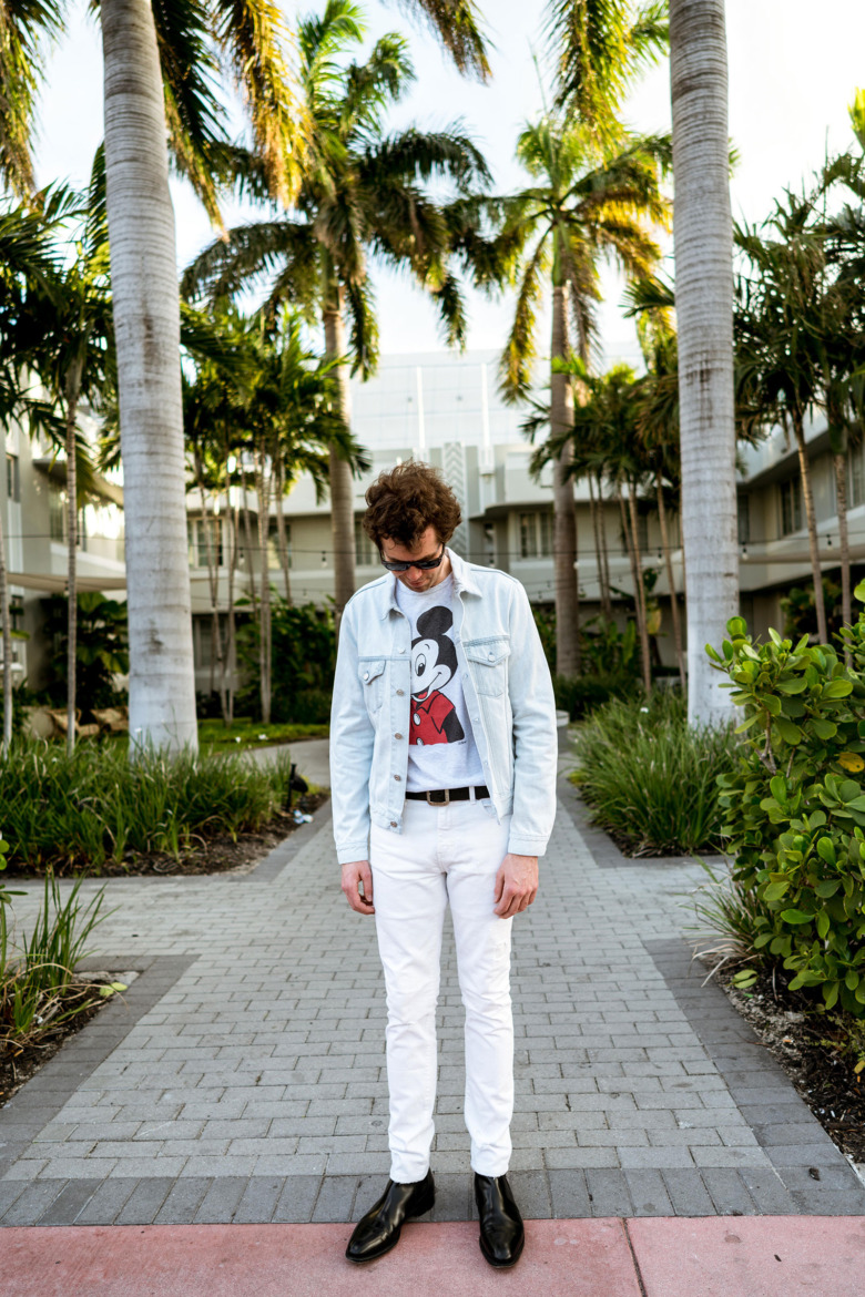 Mickey Mouse T Light Acne Jacket White YSL Pants 2