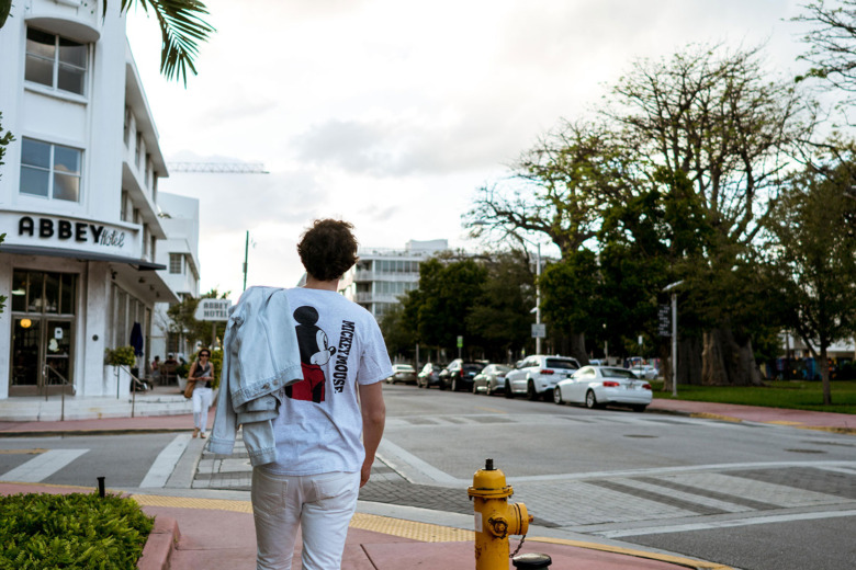 Mickey Mouse T Light Acne Jacket White YSL Pants 5